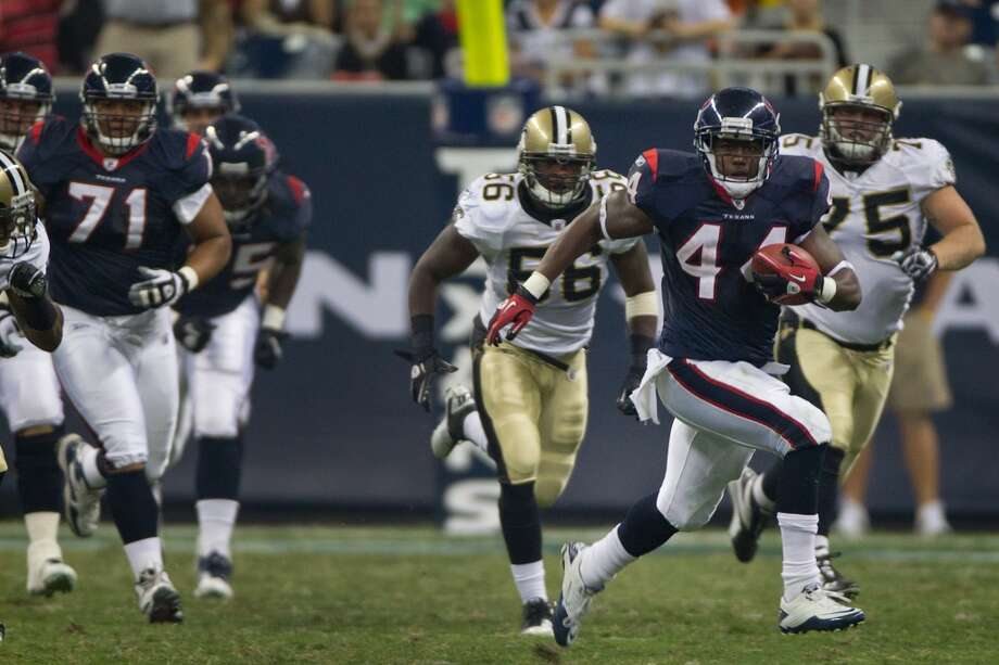 2011  Aug. 20: Texans 27, Saints 14  Arian Foster's two touchdowns in the first quarter kept New Orlenas behind for good. Photo: Smiley N. Pool, Houston Chronicle