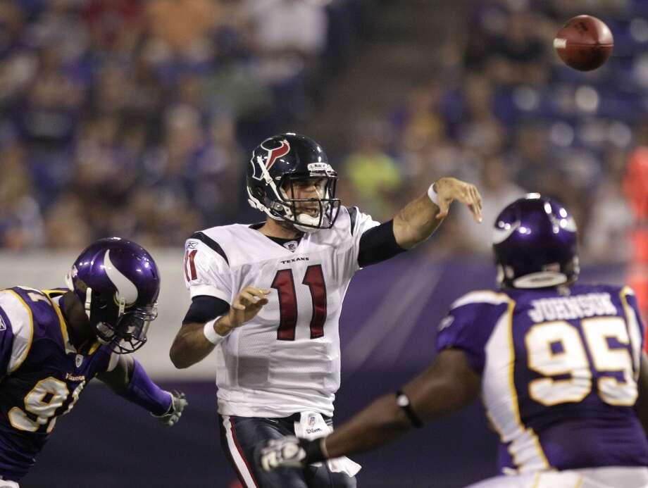 2011Sept. 1: Vikings 28, Texans 02011 preseason record: 3-1The single loss of the 2011 preseason came in embarrassing fashion. Photo: Brett Coomer, Houston Chronicle