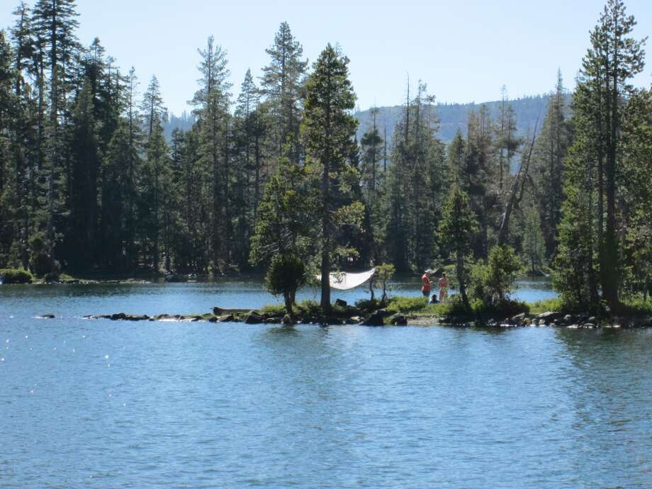 A cool do-it-yourself campsite on the peninsula that extends into Goose Lake on the Gold Lake Highway in the Lakes Basin Recreation Area. Photo: Tom Stienstra/The Chronicle