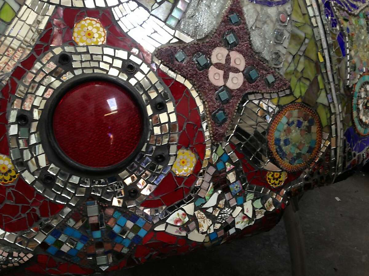 Detail of the mosaic on The YES Project (youth educational spacecraft) by artists Kal Spelletich and Dana Albany