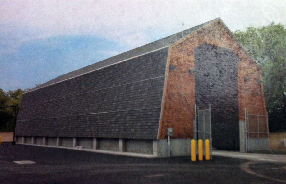 The state DOT salt storage shed in Milford, pictured here, is similar to one that the agency wants to build on Jefferson Street off Merritt Parkway Exit 46.   FAIRFIELD CITIZEN, CT 8/8/13 Photo: File Photo / Fairfield Citizen contributed