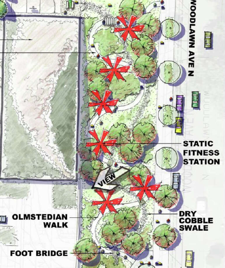 A walkway and fitness station are shown as part of Seattle Public Utilities' proposed new North Transfer station, in Wallingford. Photo: Seattle Public Utilities