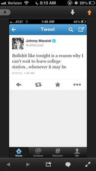 June 2013 - On June 16 came Manziel's infamous tweet saying he was looking forward to leaving College Station. Photo: Via Twitter