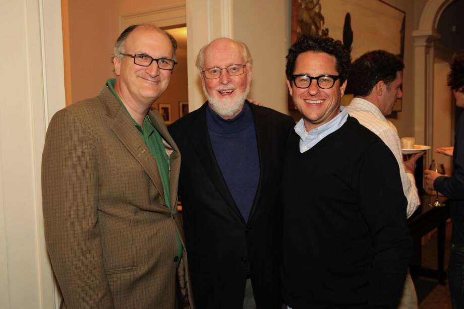 BSO Managing Director Mark Volpe with John Williams and J.J. Adams at Tanglewood on Tuesday, Aug. 6, 2013.  (Hilary Scott)