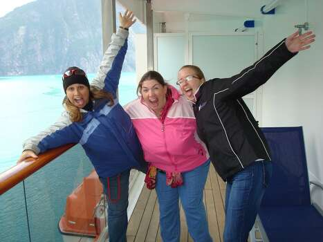 Picture was taken on the Carnival Spirit while we were in the Tracey Arm Fjord. It was pretty amazing adventure, a bit chilly as you can see by the coats we were wearing. It was a cruise to celebrate my best friends 30th birthday. This picture was taken while we were chillin' on the balcony sipping hot chocolate and eating cookies. Best way to see Alaska!    After this day we spent three days in three different Alaskan ports, some beautiful country up there; However way to cold for my South Texan blood.