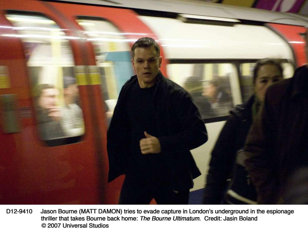 Jason Bourne (MATT DAMON) tries to evade capture in London's underground in the espionage triller that takes Bourne back home: The Bourne Ultimatum.