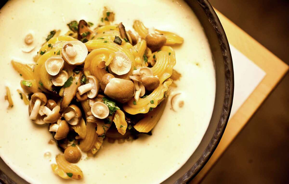 The Pass & Provisions' pasta with hen of the woods mushrooms over Parmesan foam.