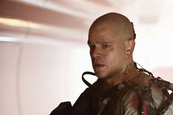 "Matt Damon stars as a former criminal who must get from dismal Earth to the paradisiacal colony in ""Elysium."""
