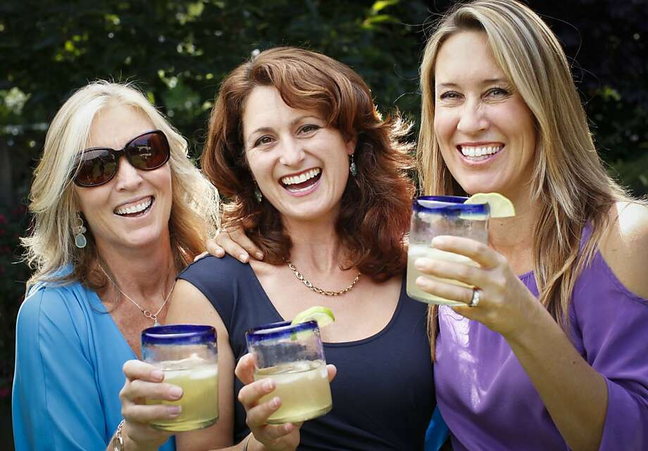 In May, Ross Valley moms and friends Jill Korst (left), Sydney Rainin-Smith and Carey Clahan launched their company Laughing Glass, which makes their popular low-calorie, organic agave-sweetened premixed margarita. Photo: Russell Yip, The Chronicle