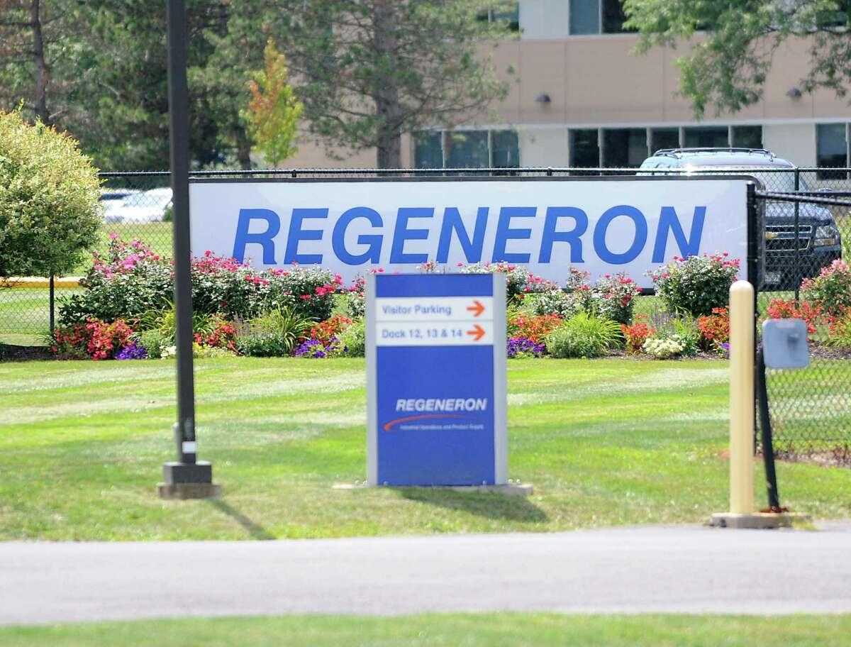 Sign outside of Regeneron Pharmaceuticals Tuesday, Aug. 6, 2013 in East Greenbush, N.Y. Sales of Regeneron' s Eylea eye drug have been highly successful. (Lori Van Buren / Times Union)