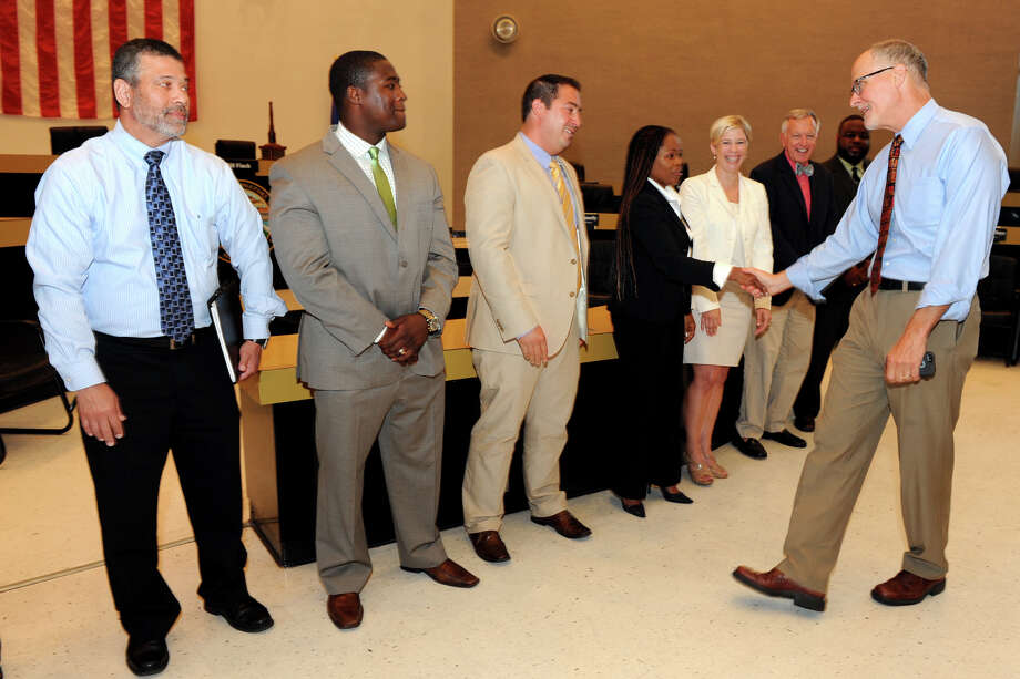 Suptintendent Paul Vallas welcomes some of the new school Principals and Assistant Principals in the City Council Chambers at Bridgeport City Hall, Bridgeport, Conn., Aug. 8th, 2013. Photo: Ned Gerard / Connecticut Post