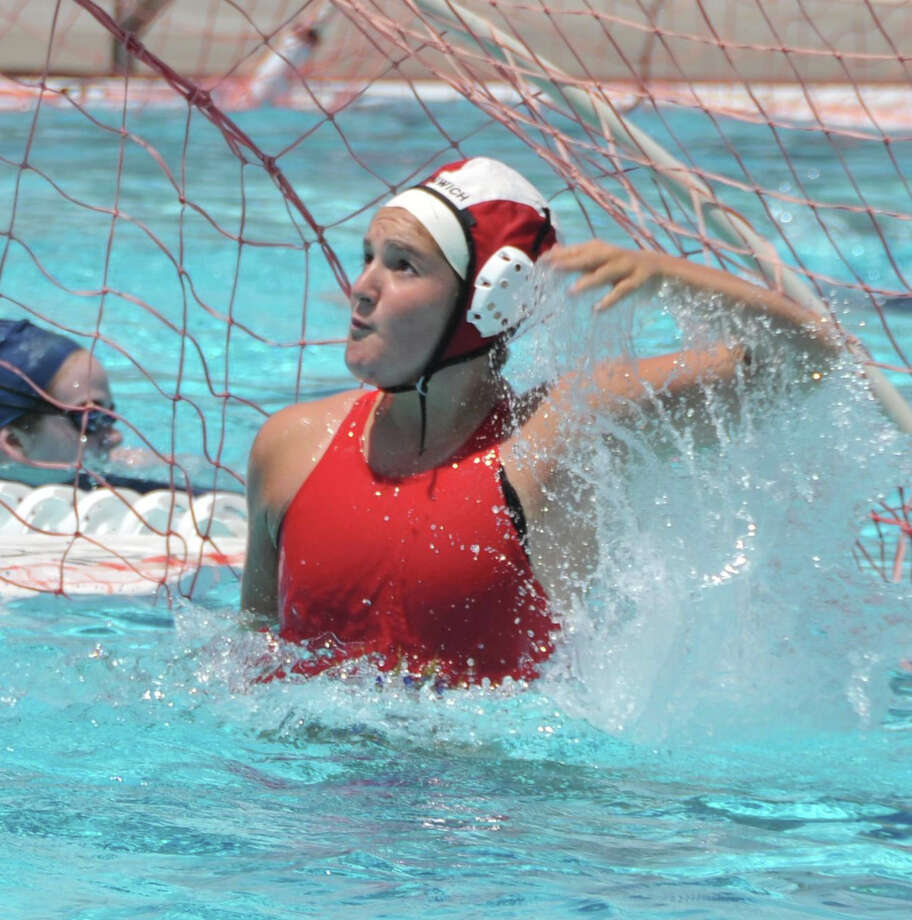 Nicole Cutler in goal for Greenwich Water Polo. August 2013 Photo: Contributed Photo