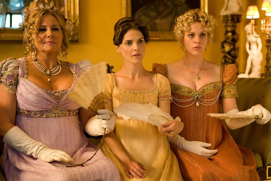 "Jennifer Coolidge as Miss Elizabeth Charming (left), Keri Russell as Jane Hayes and Georgia King as Lady Amelia Heartwright in ""Austenland."" Photo: Giles Keyte, Sony Pictures Classics"