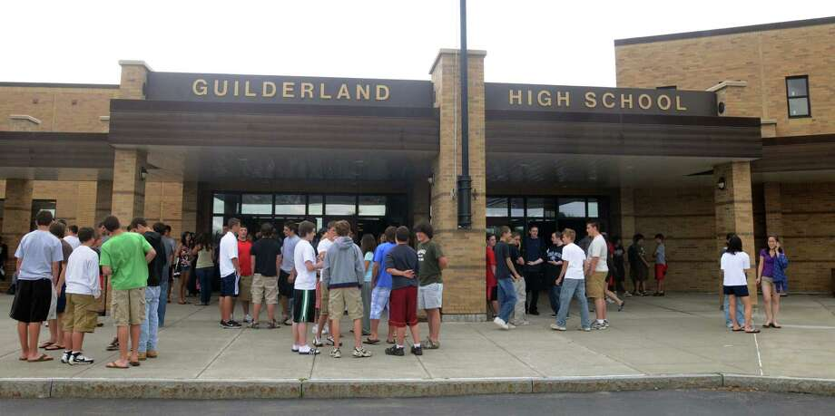 Times Union Photo by James Goolsby, June 18, 2008--Guilderland High School students, gather outside the main entrance of the school. Photo: JAMES GOOLSBY / ALBANY TIMES UNION