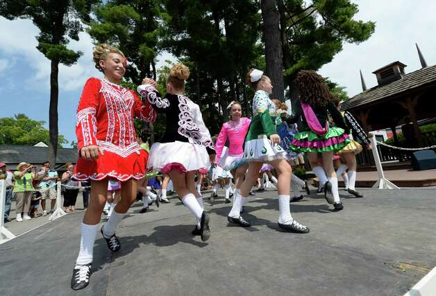 Members of the Boland School of Irish Dance perform Thursday afternoon, Aug 8, 2013, during International Day  at Saratoga Race Course in Saratoga Springs, N.Y. (Skip Dickstein/Times Union) Photo: SKIP DICKSTEIN
