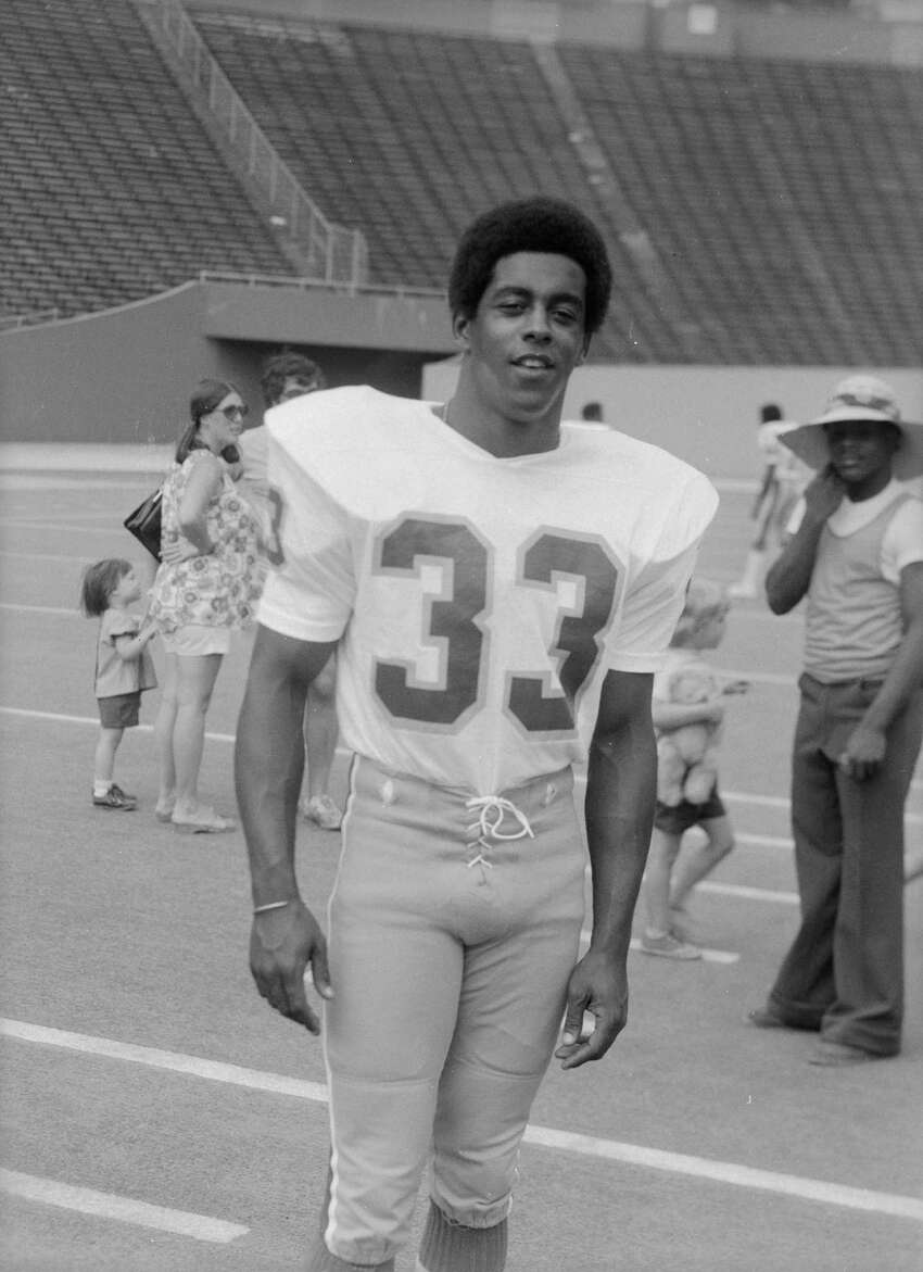 University of Pittsburgh football player #33 Tony Dorsett, standing in Pitt Stadium, Oakland, Pittsburgh, Pennsylvania, c. 1974.