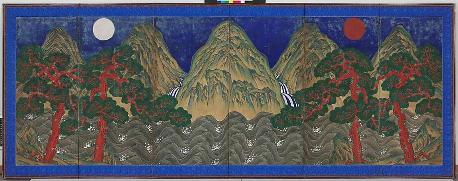 """Sun, Moon and Five Peaks"" is part of ""In Grand Style: Celebrations in Korean Art During the Joseon Dynasty,"" opening in October at the Asian Art Museum. Photo: Unknown"