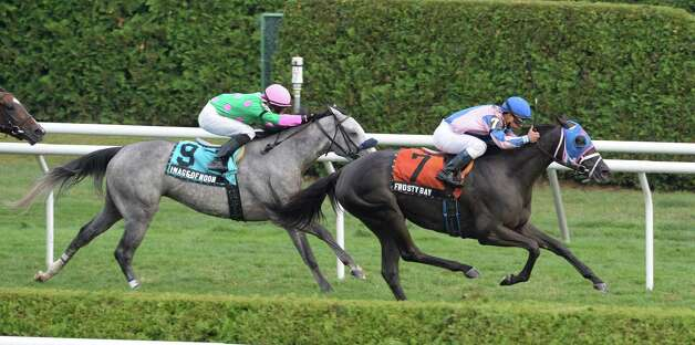Frosty Bay with jockey Javier Castellano moves past Image of Noon with jockey Jose Lezcano to win the 11th running of The New York Stallion Series Statue of Liberty Division at the Saratoga Race Course Aug 8, 2013,  in Saratoga Springs, N.Y.       (Skip Dickstein/Times Union) Photo: SKIP DICKSTEIN