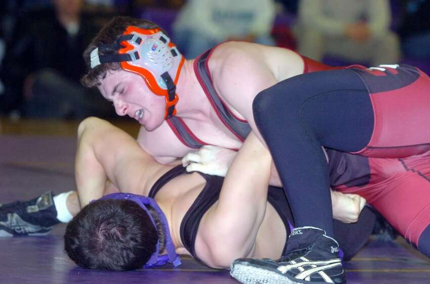 Greenwich's James Macri defeats Westhill's Alec Sottosanti in the 152 pound division as Westhill High hosts Greenwich in a wrestling match Wednesday, January 20, 2010.
