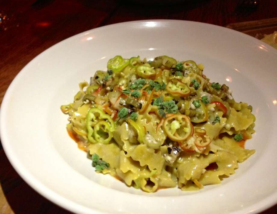 Pasta with okra and peppers at Rich Table