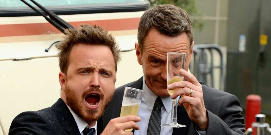 """3. The tumultuous relationship between Bryan Cranston and Aaron Paul's characters. Walt and Jesse have a love-hate relationship as the older teacher easily and often gets agitated and frustrated with the younger, inexperienced chemistry flunk. As the series progresses, the viewers see the two develop a sort of father-son bond, with Walt becoming much closer to Jesse than his actual son, Walt Jr. (He once accidentally refers to his own son accidentally as Jesse.) Jesse becomes very protective of his former teacher when others threaten his life. The chemistry translates off screen as well. Anytime these two head out in public together, the pair always deliver a series of must-see photos. Also, if you've watched the gag reels for """"Breaking Bad,"""" it's easy to see just how well the two get along. Paul has said that Cranston is a giant prankster on set. Photo: AMC"""