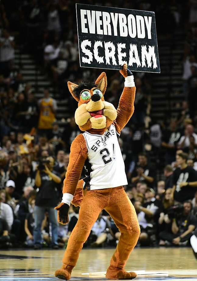 Everybody scream ... in bloodcurdling terror at the sight of The Coyote, mascot of the San Antonio Spurs. Photo: Frederic J. Brown, AFP/Getty Images