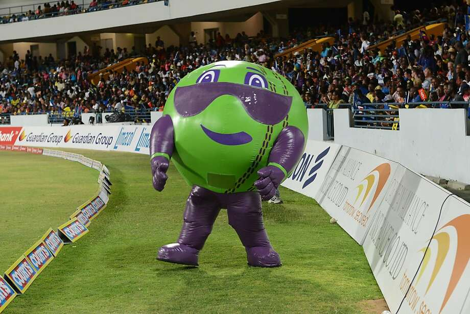 Bouncer, the Caribbean cricket league mascot, is part California raisin mixed with attack of the killer tomatoes added to a large dose of zombie. Braaaaains. Photo: Mike Toy, Getty Images Latin America