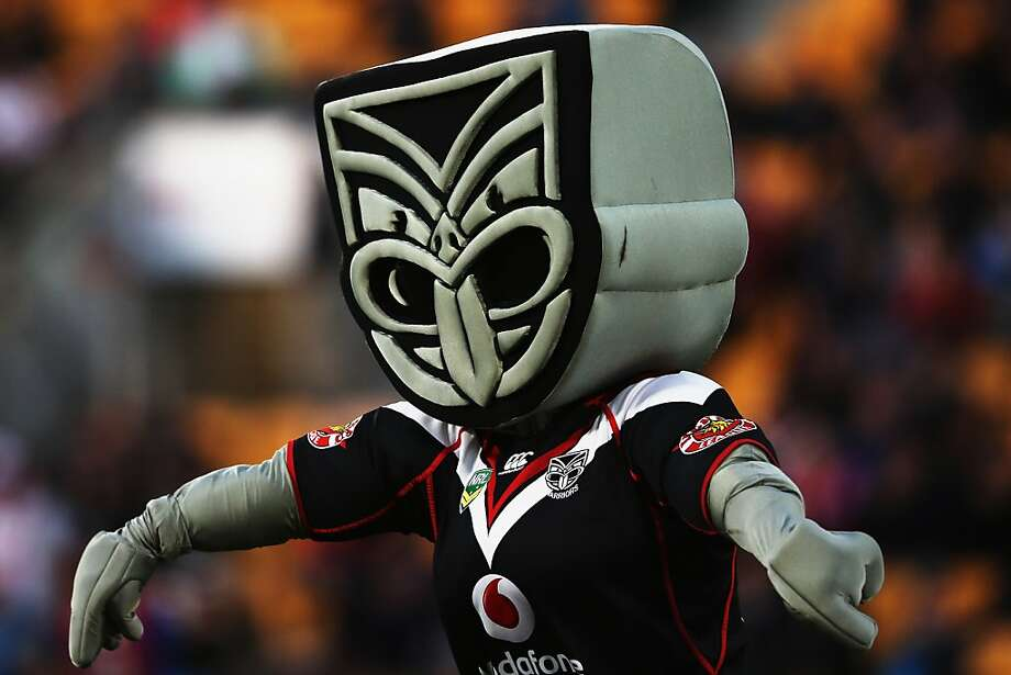 I think this is supposed to be a tribal warrior of some sort, but I'm afraid to look in its eyes long enough to find out. (New Zealand Warriors mascot) Photo: Hannah Johnston, Getty Imaes