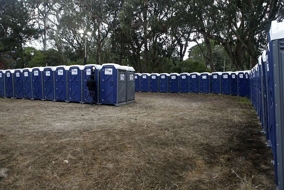 Hundreds of portable toilets are set up throughout Golden Gate Park to prepare for the coming guests at the opening day of the Outside Lands Festival at  in San Francisco, Calif. on Friday, August 9, 2013. Photo: Katie Meek, The Chronicle