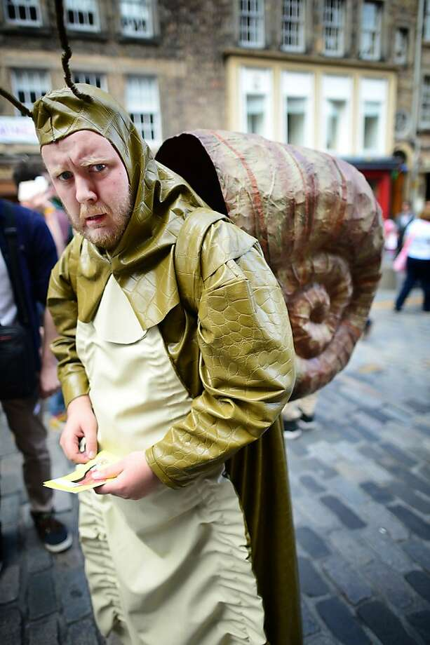 Anyone have a salt shaker? These slimy nuisances show up at the Fringe Festival in Edinburgh, Scotland, especially after it rains. Photo: Jeff J Mitchell, Getty Images