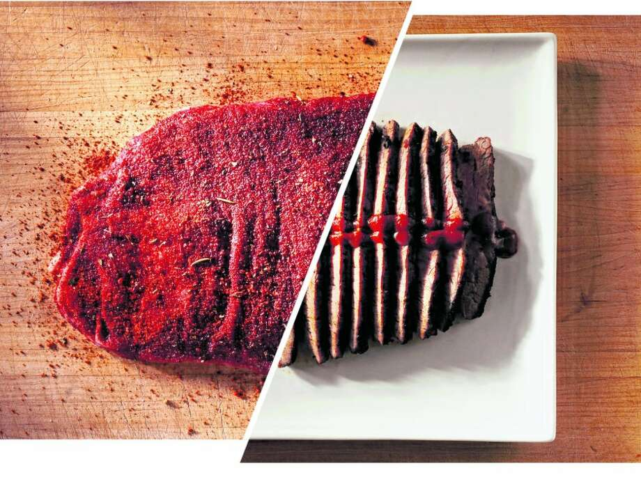 A dry rub can be used before cooking to enhance a quick-cooking cut of meat like flank steak and again to season the barbecue sauce that goes on top.