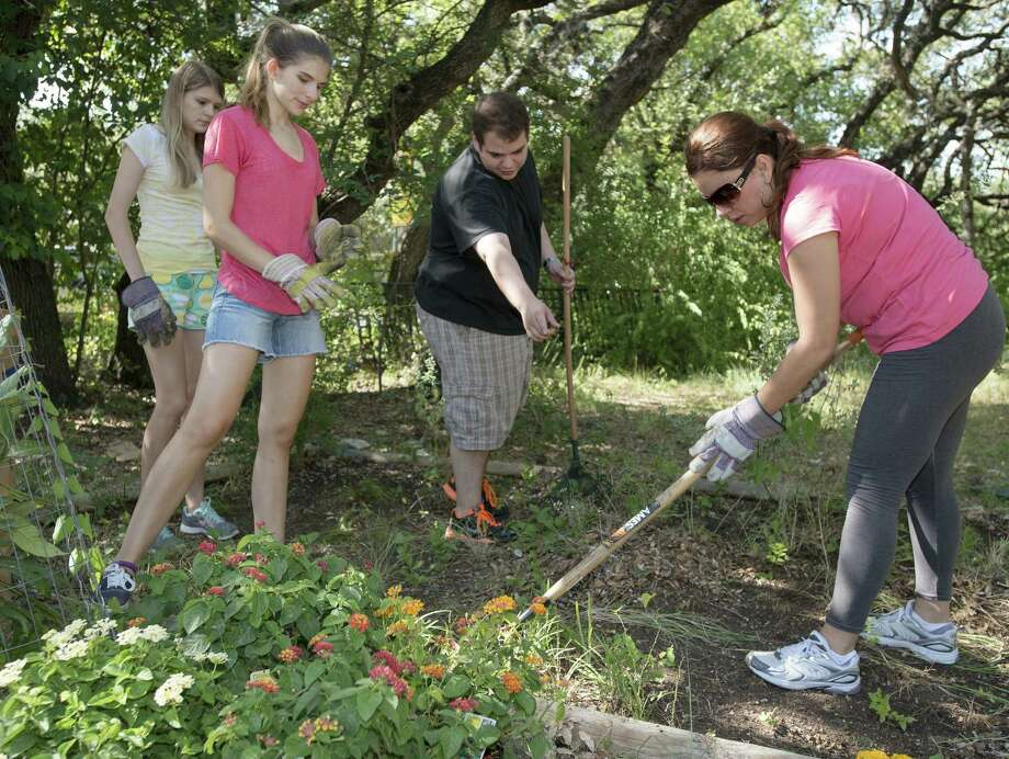 Fit Community volunteers Katey Howard (from left), Roslyn Howard, Omar De La Cruz, and Jackie Islava participate in a school grounds cleanup and workout session at Montessori Schoolhouse in San Antonio. Photo: Darren Abate / For The Express-News