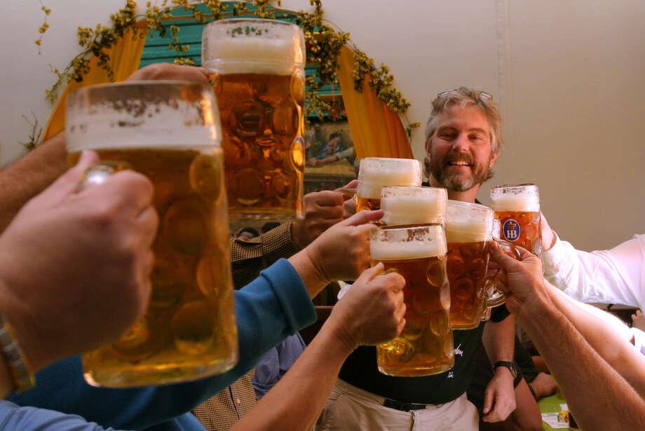 In German beer halls and beer gardens, drinks are served in huge liter glasses Photo: Dominic Bonuccelli, Ricksteves.com
