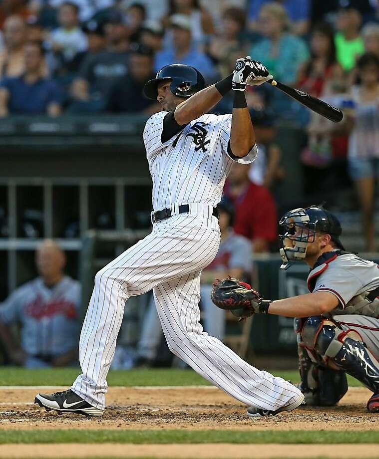 New Texas Ranger Alex Rios has a .277 batting average, 12 home runs, 26 stolen bases, 55 RBIs and 57 runs scored. Photo: Jonathan Daniel, Getty Images