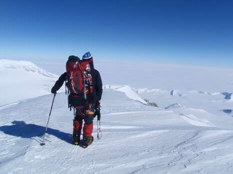 Summit of the Vinson Massif, the highest point in Antarctica - ~750 miles from the South Pole.