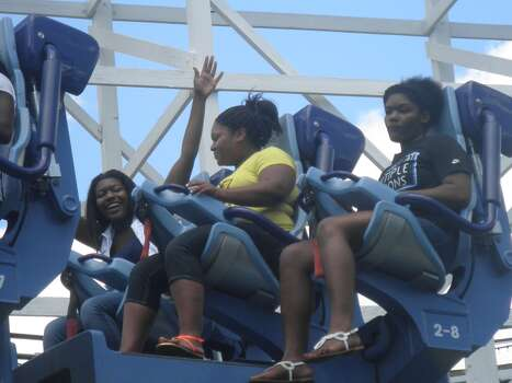 My three girls after a rollercoaster ride at Hershey Park in Pennsylvania.