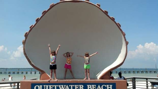 Quietwater Beach at Pensacola Beach, Florida of my three daughters - Gina, Sarah, and Patricia.