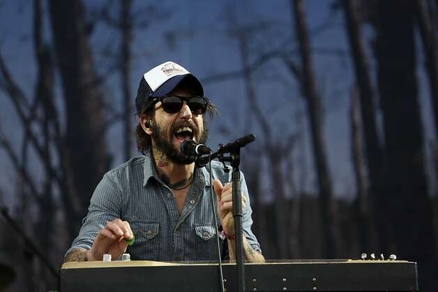The lead singer of Band of Horses Benjamin Bridwell sings on the Lands End stage during the first day of the Outside Lands music festival in Golden Gate Park in San Francisco, Calif. on August 9, 2013. Photo: Ian C. Bates, The Chronicle