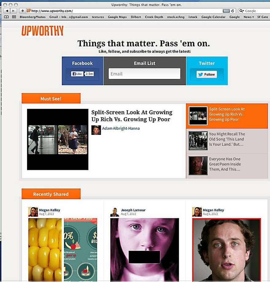 Upworthy's website promotes meaningful stories in videos by using social media to reach as many people as possible. Photo: Upworthy.com, Upworty.cpm