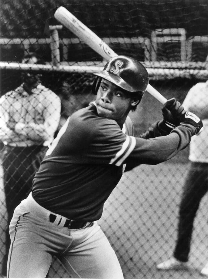 On June 9, 1987, Griffey took his first cuts with the major-league club before a Mariners game at the Kingdome. He was still with the Bellingham Mariners at that point.  Photo: PI ARCHIVE, Seattle P-I Archives