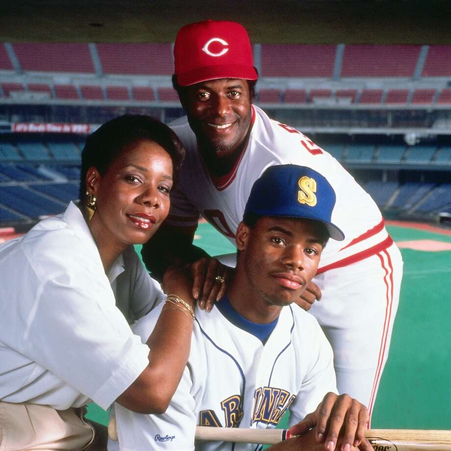 Griffey Jr. poses with his parents, Ken Sr. and Alberta, at the old Riverfront Stadium in Cincinnati in 1989. The senior Griffey played then for the Reds.
