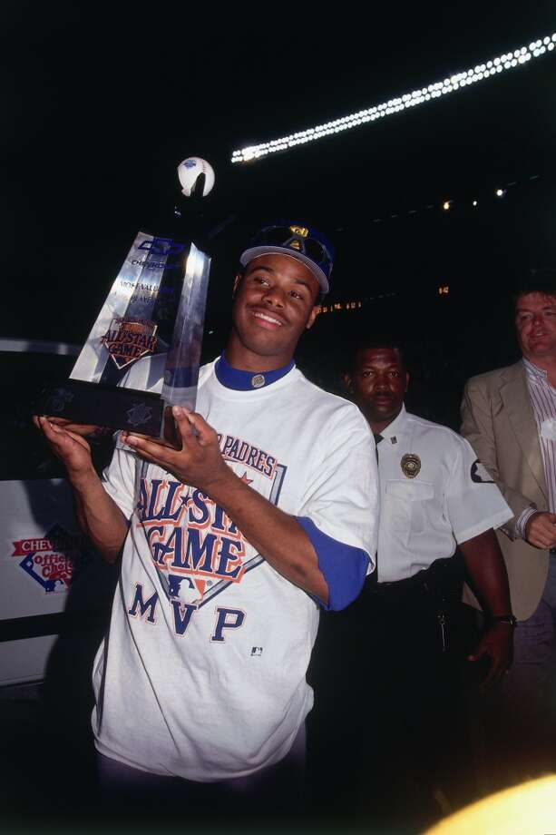 Griffey was named MVP of the 1992 All-Star Game, and lifts his trophy here July 14, 1992, at Jack Murphy Stadium in San Diego.