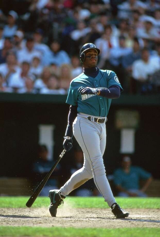 In 1993, the Mariners switched from the ''yellow S'' uniforms to their current livery. Here, Griffey is seen in his famous post-homer pose during a game in -- you guessed it -- Baltimore circa 1994.  Photo: Focus On Sport, Getty Images