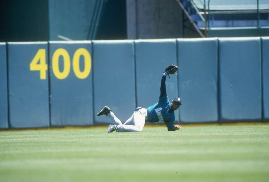 The Kid makes one of his many spectacular catches in center field on May 25, 1994, against the Athletics at Oakland Coliseum.