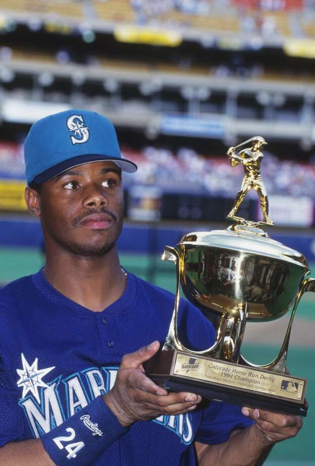 Griffey holds his trophy after winning the Home Run Derby at the 1994 All-Star Game at Three Rivers Stadium in Pittsburgh.