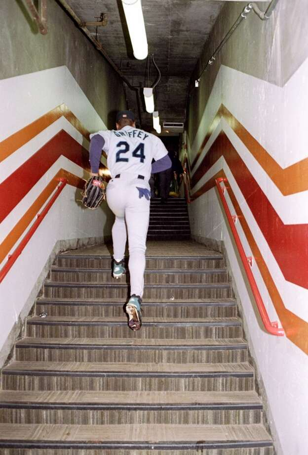 Climbing the stairs after the Mariners beat the Athletics 8-1 on Aug. 11, 1994, at the Oakland Coliseum. It was Seattle's last game that year before the players went on strike.