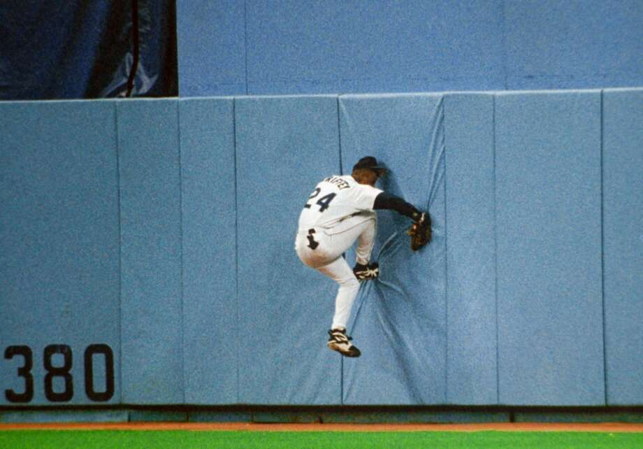 The infamous play. Griffey caught the ball, but broke his wrist.