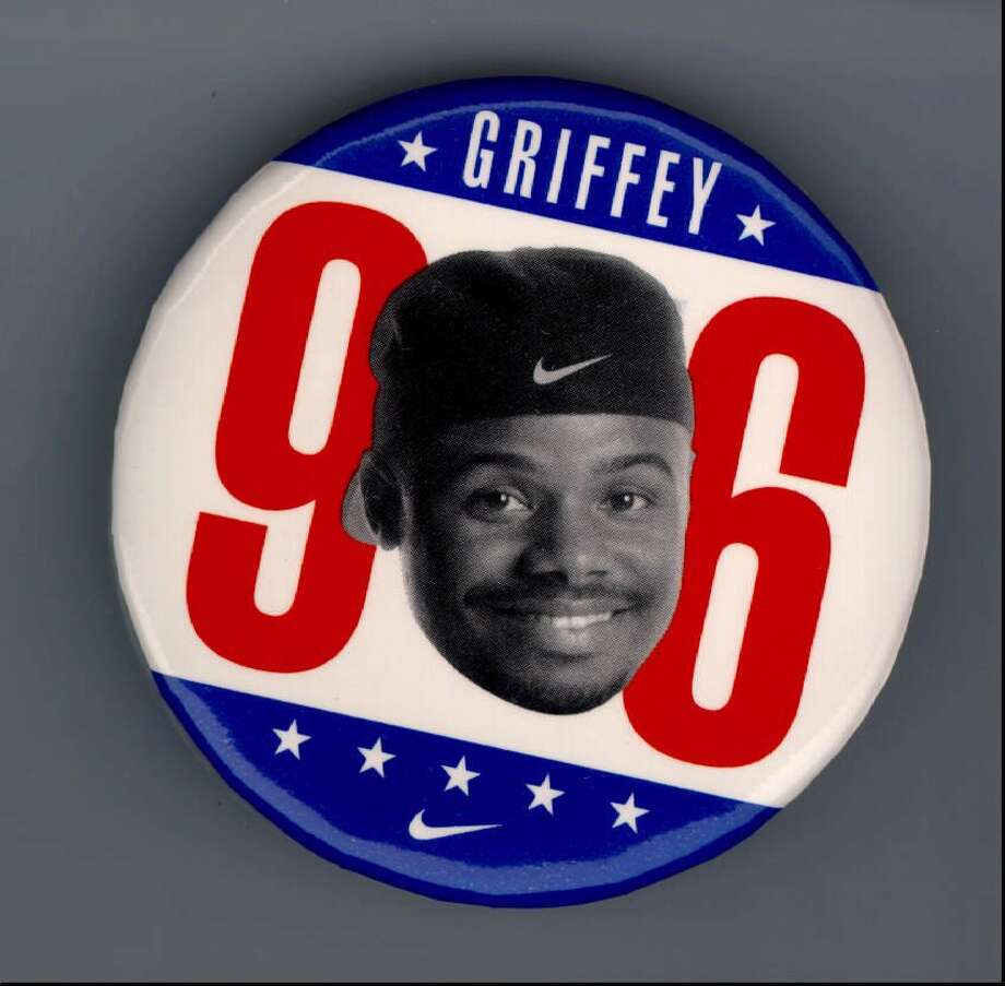 In 1996, as America approached a big presidential election, Mariners fans launched a (not-so-serious) campaign for their favorite player. The ''campaign'' spun off of a Nike commercial in which Griffey ran for president.  Photo: Seattle P-I Archives