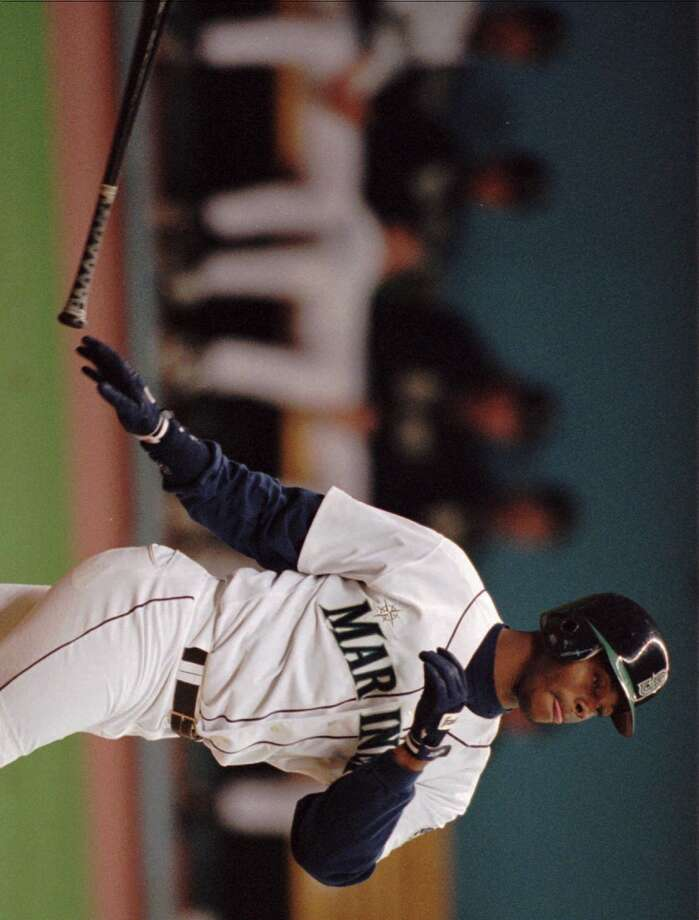 Griffey hits his second of three homers against the Yankees on May 24, 1996, at the Kingdome. The M's won 10-4.  Photo: Elaine Thompson, Associated Press