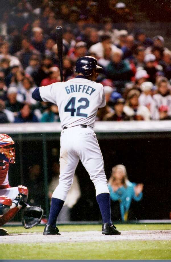 Griffey wears Jackie Robinson's number and Robinson-style high socks during a game June 12, 1997, in Cleveland.